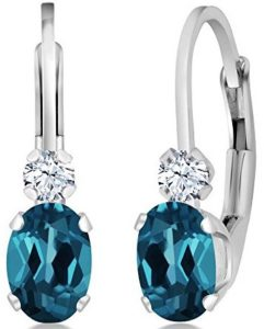 blue and white topaz earrings