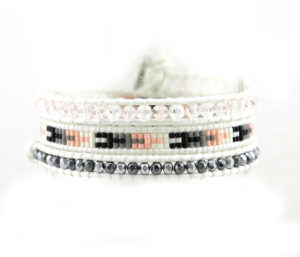 White leather wrap bracelet with colored beads