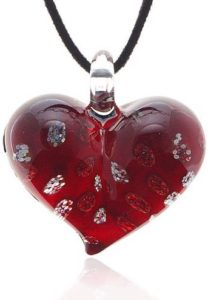 glass heart red pendant