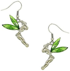 green tinkerbell earrings