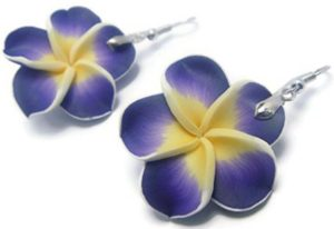 Hawaiian purple flower earrings