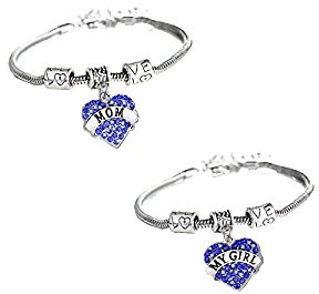 blue mom and daughter charm bracelets