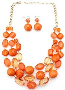 orange layer bead necklace
