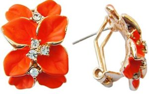 orange enamel flower earrings