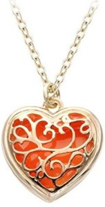orange heart pendant necklace