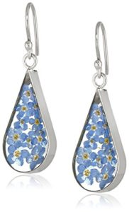 blue pressed flower earrings