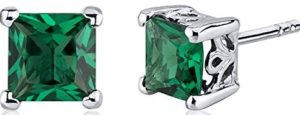 princess cut green studs