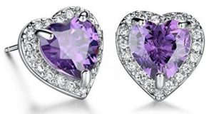 purple diamond heart earrings