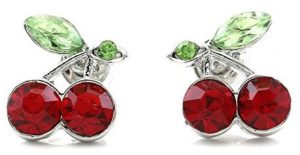 red cherry studs earrings