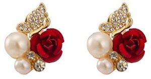 red rose pearl earrings