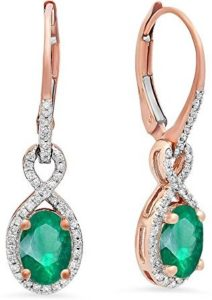 rose gold green earrings