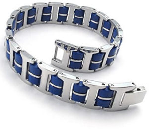 Konov mens blue and silver bracelet