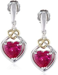 silver red heart earrings