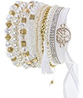 White stack bangles with beads and crystals