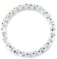 White evil eye glass bead bracelet