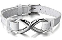White leather infinity bracelet