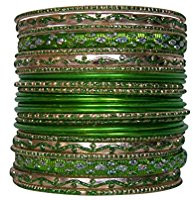 Stack of 26 green bracelets