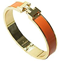 Gold and orange stainless steel bracelet