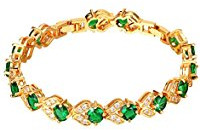 18k gold plated green crystal bracelet