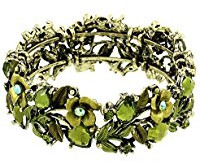 Green floral bracelet with crystals