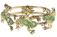 Green and gold frog bracelet