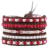 Leather wrap bracelet with red crystals