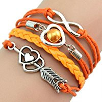 Orange leather infinity bracelet