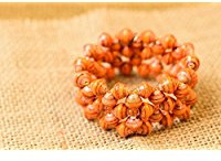 orange paper bead stretch bracelet