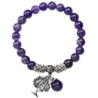 Purple amethyst natural stone stretch bracelet