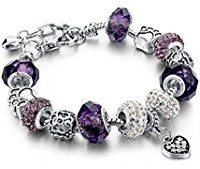 Purple glass bead charm bracelet