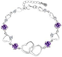 purple and silver love heart bracelet
