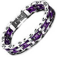 Purple mens stainless steel bracelet