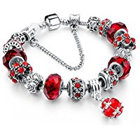 Red and silver charm bracelet