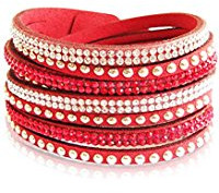 Multi strand red leather bracelet