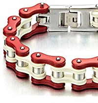 Red, silver and white biker bracelet