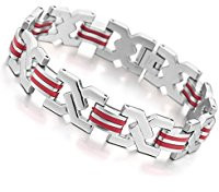 Red and silver men's bracelet