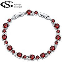 Red cubic zirconia tennis bracelet