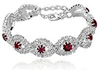 Silver plated red stone bracelet