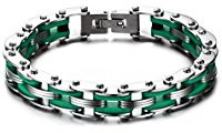 Stainless steel green men's bracelet