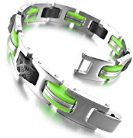 Stainless steel and green rubber bracelet